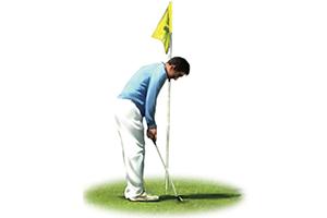 Golfbal raakt de vlaggenstok