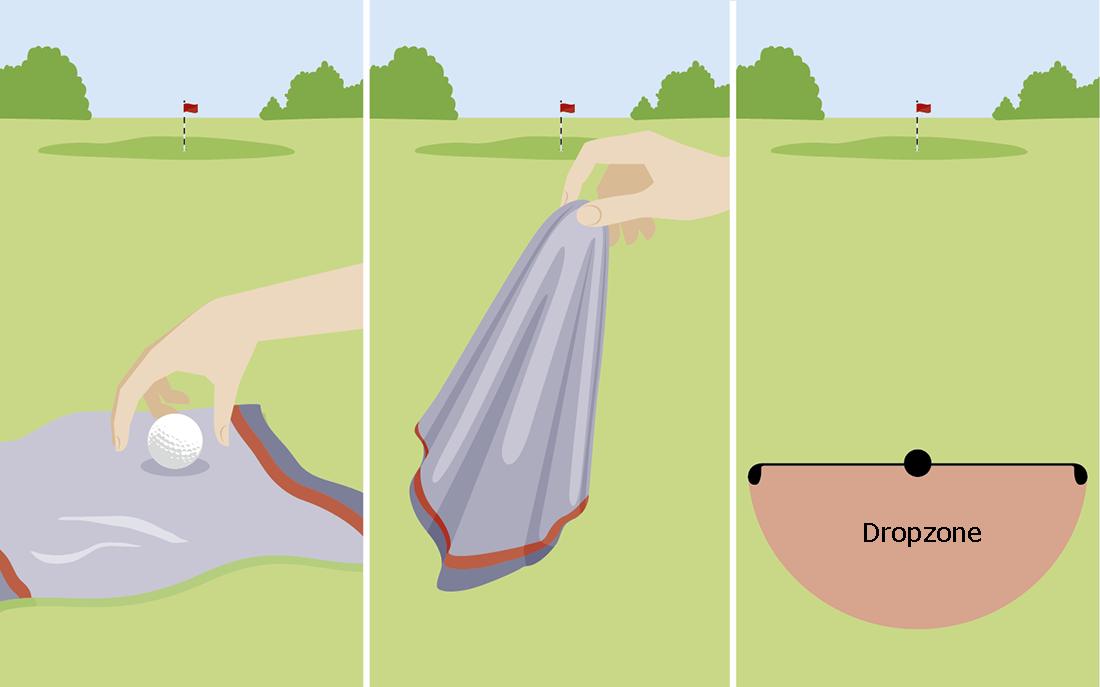 Een los obstakel weghalen als de golfbal erop of onder ligt