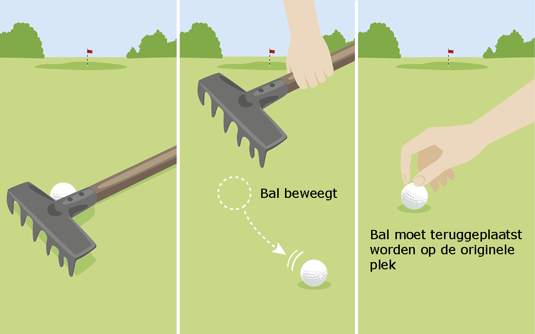 Een golfbal beweegt bij het weghalen van een los obstakel