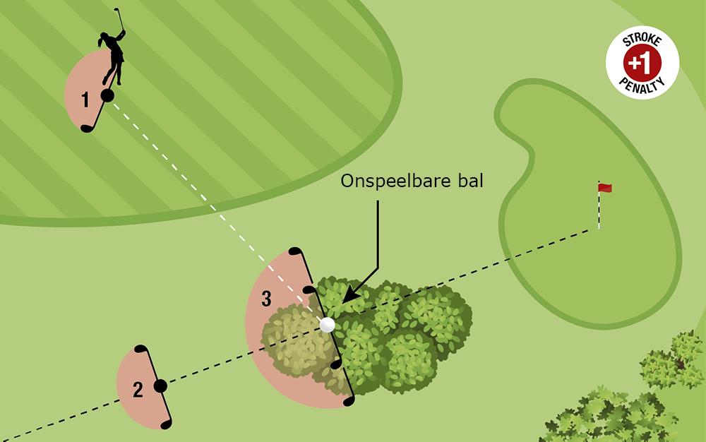 Een golfbal onspeelbaar verklaren in het algemene gebied en op de green